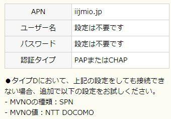 IIJmioのAPN設定