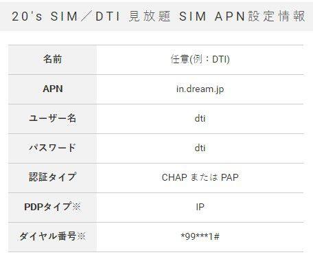 DTI SIMのAPN設定